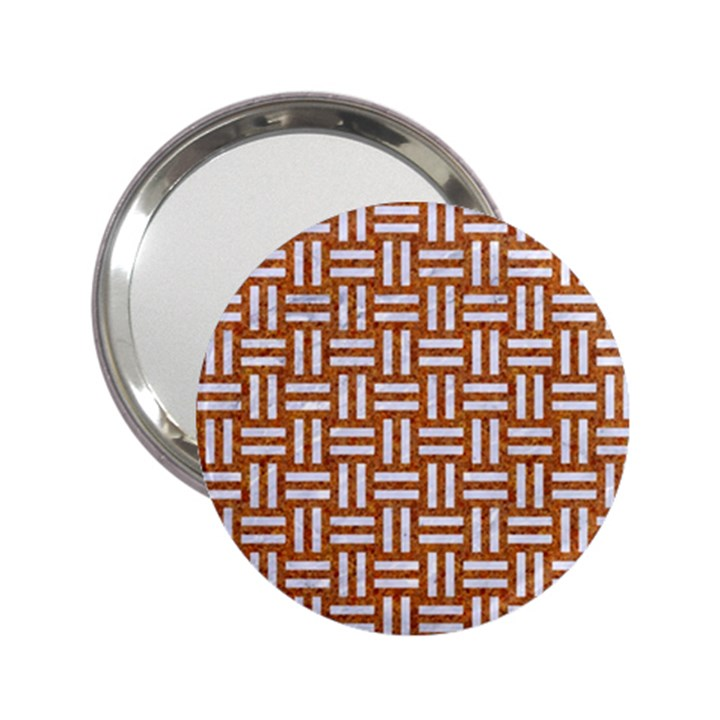 WOVEN1 WHITE MARBLE & RUSTED METAL 2.25  Handbag Mirrors