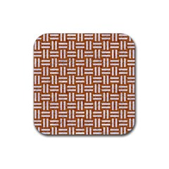 WOVEN1 WHITE MARBLE & RUSTED METAL Rubber Coaster (Square)