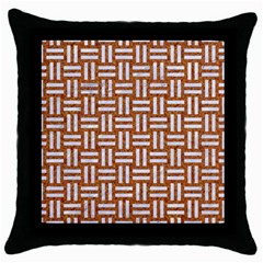 WOVEN1 WHITE MARBLE & RUSTED METAL Throw Pillow Case (Black)