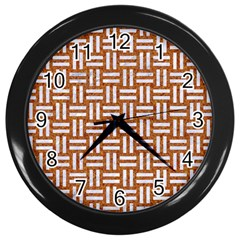 WOVEN1 WHITE MARBLE & RUSTED METAL Wall Clocks (Black)