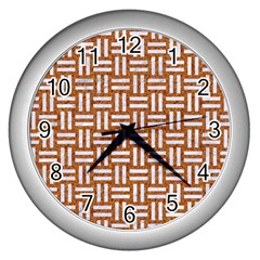 WOVEN1 WHITE MARBLE & RUSTED METAL Wall Clocks (Silver)