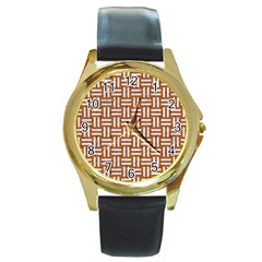 WOVEN1 WHITE MARBLE & RUSTED METAL Round Gold Metal Watch