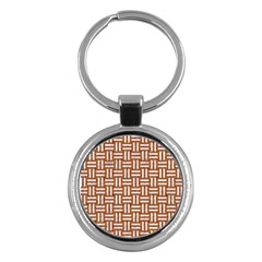 WOVEN1 WHITE MARBLE & RUSTED METAL Key Chains (Round)
