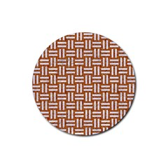 WOVEN1 WHITE MARBLE & RUSTED METAL Rubber Coaster (Round)