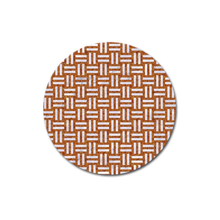 WOVEN1 WHITE MARBLE & RUSTED METAL Magnet 3  (Round)