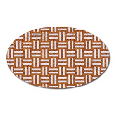 WOVEN1 WHITE MARBLE & RUSTED METAL Oval Magnet