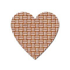 WOVEN1 WHITE MARBLE & RUSTED METAL Heart Magnet