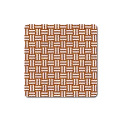 WOVEN1 WHITE MARBLE & RUSTED METAL Square Magnet