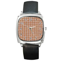WOVEN1 WHITE MARBLE & RUSTED METAL Square Metal Watch