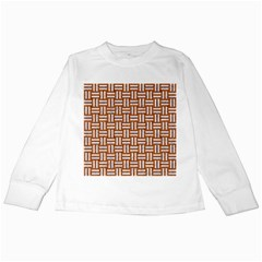 WOVEN1 WHITE MARBLE & RUSTED METAL Kids Long Sleeve T-Shirts