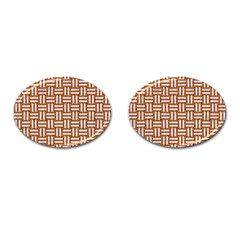 WOVEN1 WHITE MARBLE & RUSTED METAL Cufflinks (Oval)