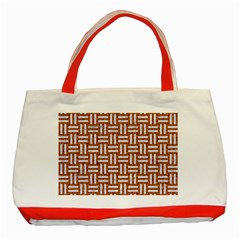 WOVEN1 WHITE MARBLE & RUSTED METAL Classic Tote Bag (Red)