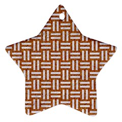 WOVEN1 WHITE MARBLE & RUSTED METAL Star Ornament (Two Sides)