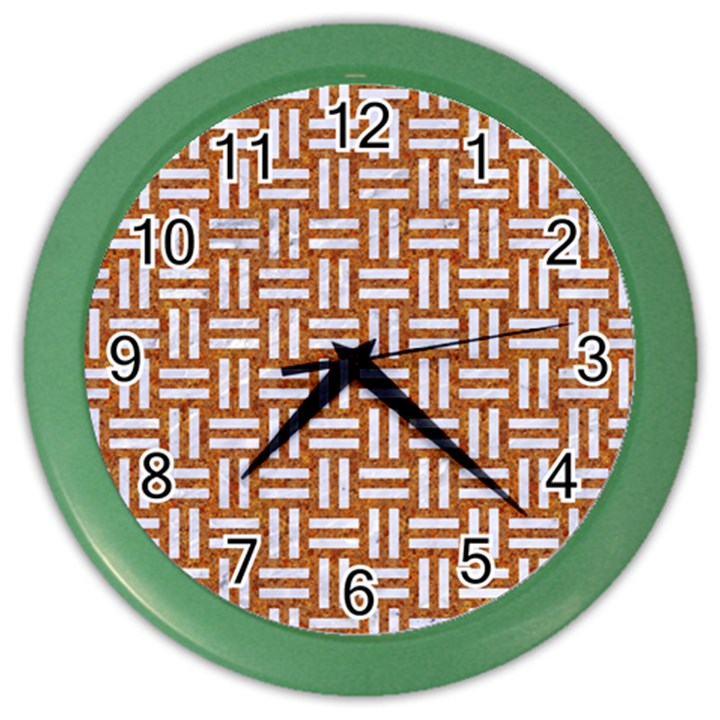WOVEN1 WHITE MARBLE & RUSTED METAL Color Wall Clocks