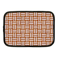 WOVEN1 WHITE MARBLE & RUSTED METAL Netbook Case (Medium)