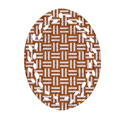 WOVEN1 WHITE MARBLE & RUSTED METAL Ornament (Oval Filigree)