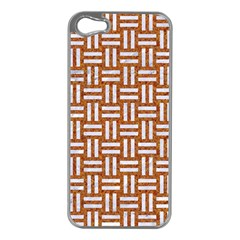 WOVEN1 WHITE MARBLE & RUSTED METAL Apple iPhone 5 Case (Silver)