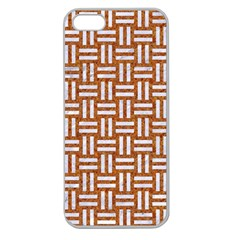 WOVEN1 WHITE MARBLE & RUSTED METAL Apple Seamless iPhone 5 Case (Clear)