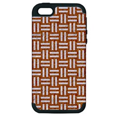 WOVEN1 WHITE MARBLE & RUSTED METAL Apple iPhone 5 Hardshell Case (PC+Silicone)