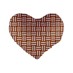 WOVEN1 WHITE MARBLE & RUSTED METAL Standard 16  Premium Heart Shape Cushions