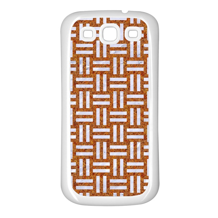 WOVEN1 WHITE MARBLE & RUSTED METAL Samsung Galaxy S3 Back Case (White)