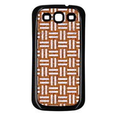 WOVEN1 WHITE MARBLE & RUSTED METAL Samsung Galaxy S3 Back Case (Black)