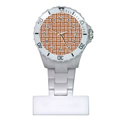 WOVEN1 WHITE MARBLE & RUSTED METAL Plastic Nurses Watch