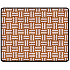 WOVEN1 WHITE MARBLE & RUSTED METAL Double Sided Fleece Blanket (Medium)
