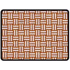 WOVEN1 WHITE MARBLE & RUSTED METAL Double Sided Fleece Blanket (Large)