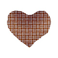 WOVEN1 WHITE MARBLE & RUSTED METAL Standard 16  Premium Flano Heart Shape Cushions
