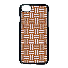 WOVEN1 WHITE MARBLE & RUSTED METAL Apple iPhone 8 Seamless Case (Black)
