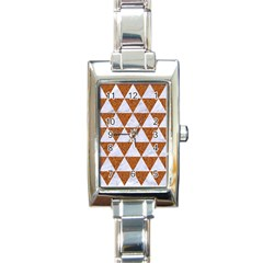 Triangle3 White Marble & Rusted Metal Rectangle Italian Charm Watch by trendistuff