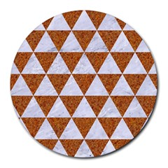 Triangle3 White Marble & Rusted Metal Round Mousepads by trendistuff