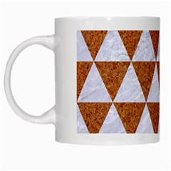 Triangle3 White Marble & Rusted Metal White Mugs by trendistuff
