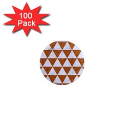Triangle3 White Marble & Rusted Metal 1  Mini Magnets (100 Pack)  by trendistuff