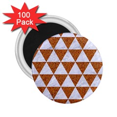Triangle3 White Marble & Rusted Metal 2 25  Magnets (100 Pack)  by trendistuff