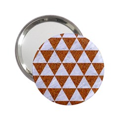 Triangle3 White Marble & Rusted Metal 2 25  Handbag Mirrors by trendistuff