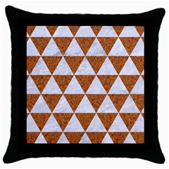 Triangle3 White Marble & Rusted Metal Throw Pillow Case (black) by trendistuff