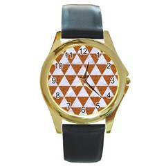 Triangle3 White Marble & Rusted Metal Round Gold Metal Watch by trendistuff