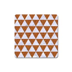 Triangle3 White Marble & Rusted Metal Square Magnet by trendistuff