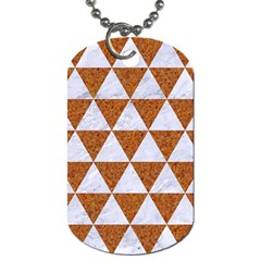 Triangle3 White Marble & Rusted Metal Dog Tag (one Side) by trendistuff
