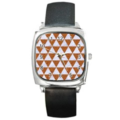 Triangle3 White Marble & Rusted Metal Square Metal Watch by trendistuff