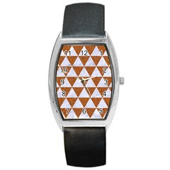 Triangle3 White Marble & Rusted Metal Barrel Style Metal Watch by trendistuff