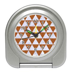 Triangle3 White Marble & Rusted Metal Travel Alarm Clocks by trendistuff