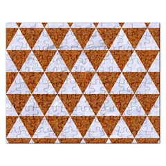 Triangle3 White Marble & Rusted Metal Rectangular Jigsaw Puzzl by trendistuff
