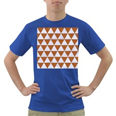 Triangle3 White Marble & Rusted Metal Dark T Shirt by trendistuff