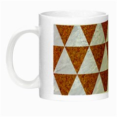 Triangle3 White Marble & Rusted Metal Night Luminous Mugs by trendistuff