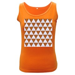 Triangle3 White Marble & Rusted Metal Women s Dark Tank Top by trendistuff