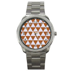 Triangle3 White Marble & Rusted Metal Sport Metal Watch by trendistuff