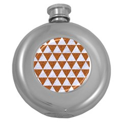 Triangle3 White Marble & Rusted Metal Round Hip Flask (5 Oz) by trendistuff